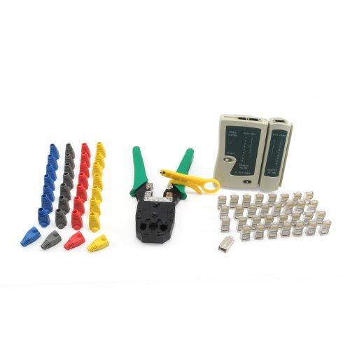 Incutex Netzwerk Werkzeug Set 66tlg. Crimpzange Kabeltester Netzwerkstecker Kunststoffhülsen Kabelschneider