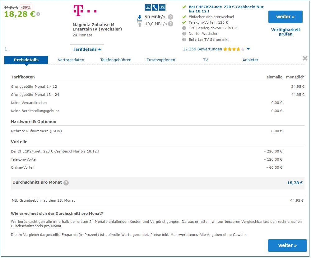 Telekom Entertain M 50 Mbit mit Internet und TV  für 18,28 EUR p.M. mit Nirgendwo günstiger Garantie - über Check24 -