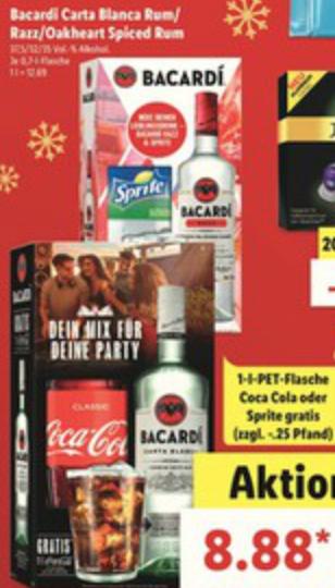 [Lidl] Bacardi Carta Blanca/Razz/Oakheart Spiced 0,7L mit jeweils 1L Sprite oder Cola für 8,88€ (+0,25€ Pfand) am 22.-23.12.2017