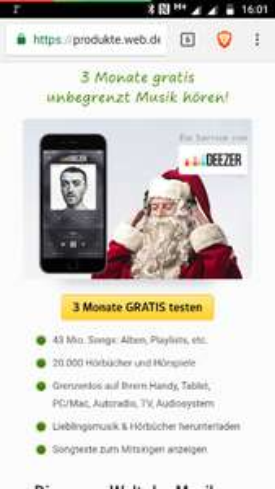 deezer 3 Monate kostenlos für web.de User