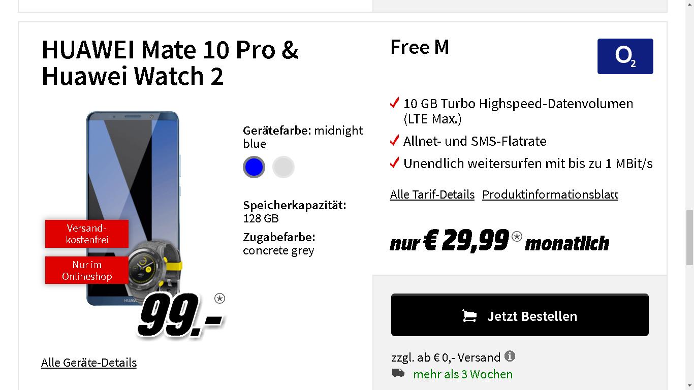 Huawei Mate 10 Pro + Huawei Watch 2 im Vetrag mit o2 Free M+ mit 10 GB LTE und Allnet- und SmS-Flatrate