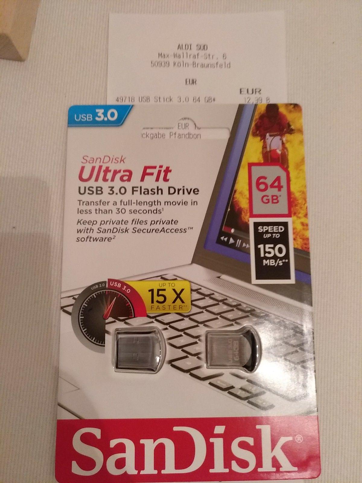 [lokal Aldi Süd] USB Stick SanDisk Ultra Fit 64GB, USB 3.0