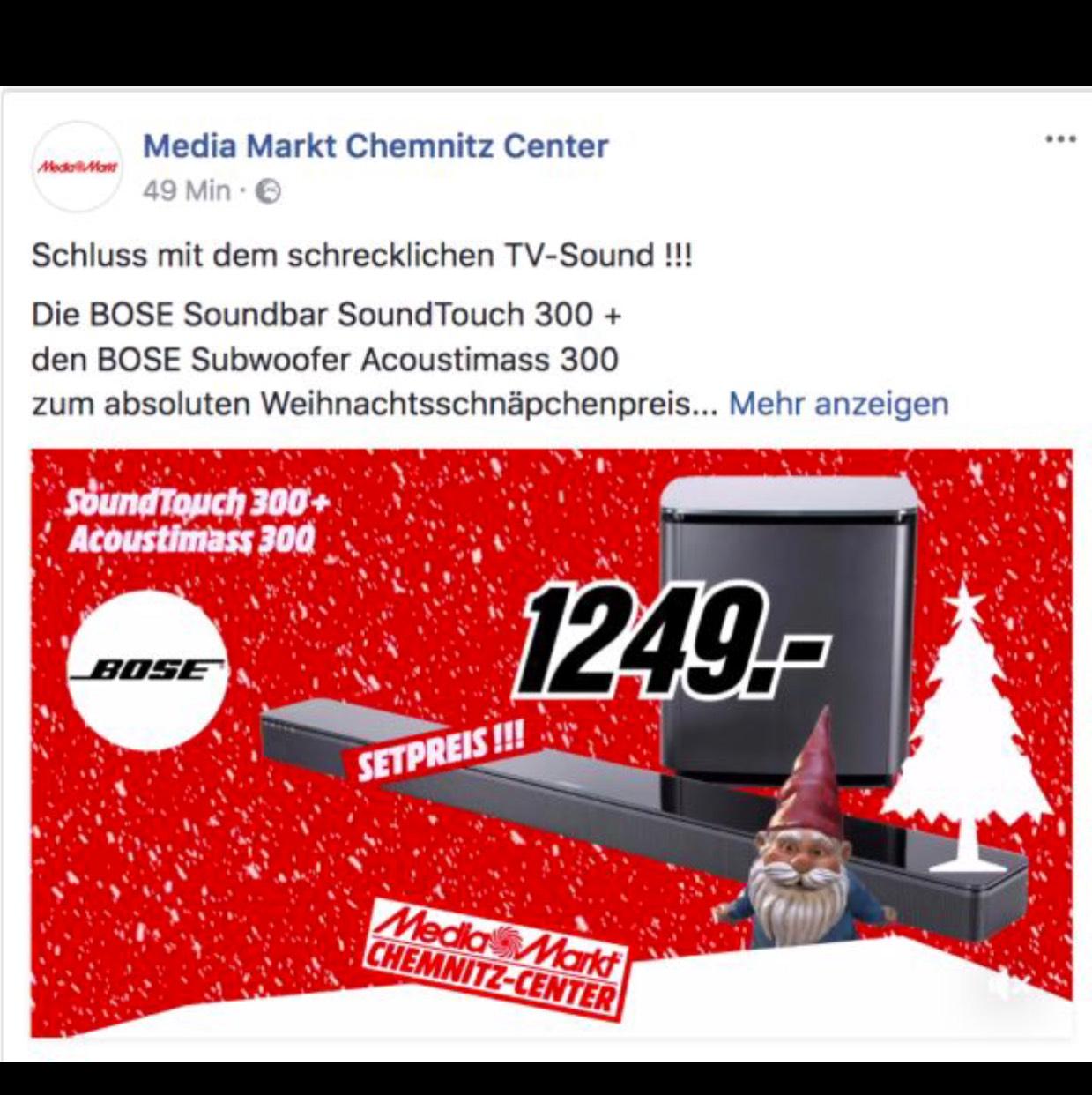 Bose 300 Soundbar inkl. Subwoofer im Paket für 1249 Euro MM Chemnitz Röhrsdorf