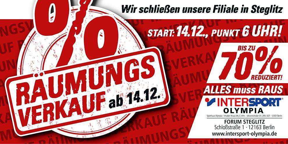 [Lokal / Berlin] Intersport-Filiale im Forum Steglitz bis zu 70 Prozent auf alles / Räumungsverkauf