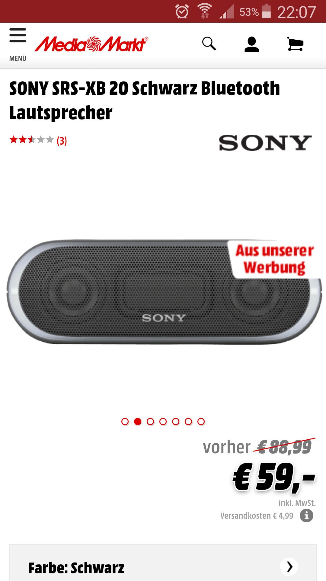 [MediaMarkt & Amazon] SONY SRS-XB 20 Schwarz Bluetooth Lautsprecher (On-und Offline)