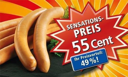 [REWE] 100g Wiener Würstchen für 55 ct (Preisvorteil von 49%) bis Samstag