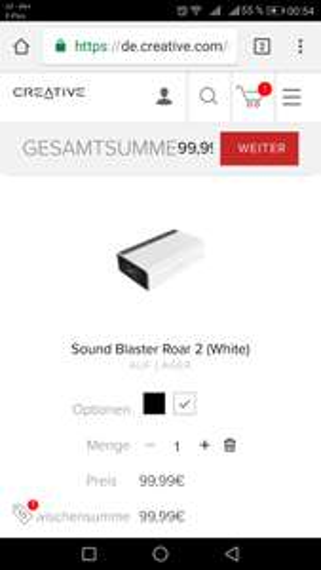 [Creative Online Shop] Creative Soundblaster Roar 2 Wireless Bluetooth Lautsprecher in Schwarz oder Weiß /Versandkostenfrei