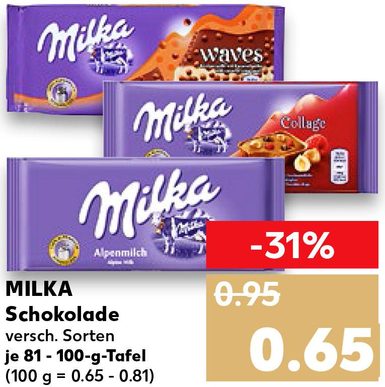 MILKA Tafelschokolade 81-100g für nur 65 Cent (Kaufland)