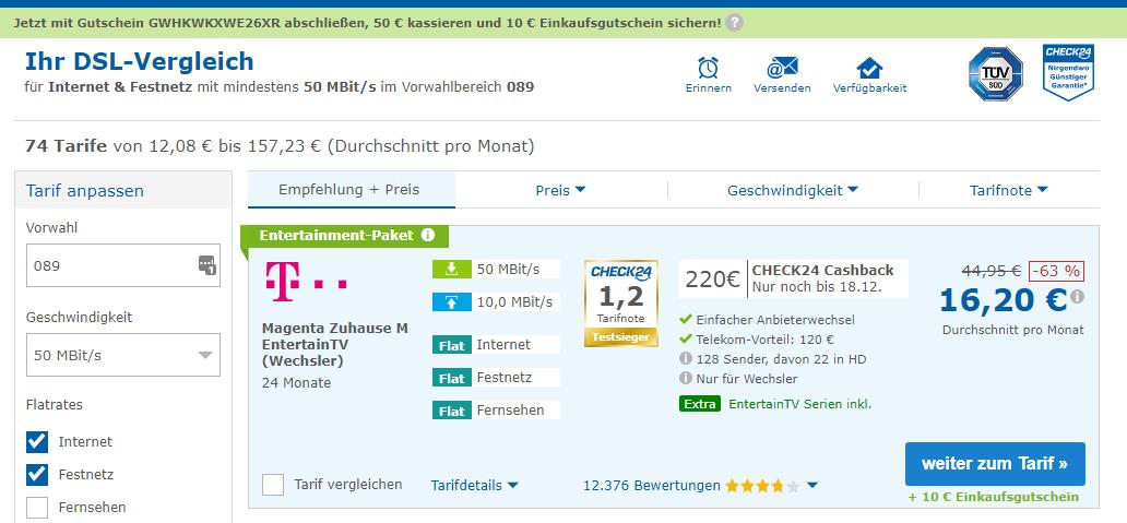 [CHECK24] Telekom VDSL 50 Mbit Entertain M - Paket für 16,20 (Wechsler) und (sonst.) 19,12
