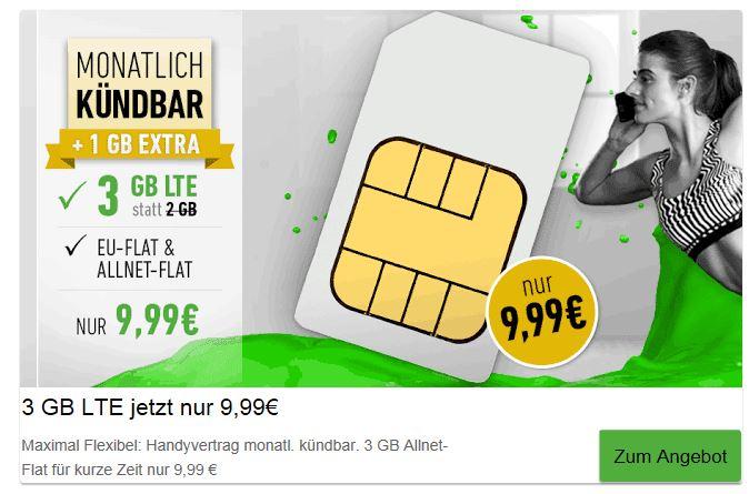 DeinHandy - PremiumSim - 3 GB (50Mbit's) AllNet & SMS Flat (EU) monatlich Kündbar