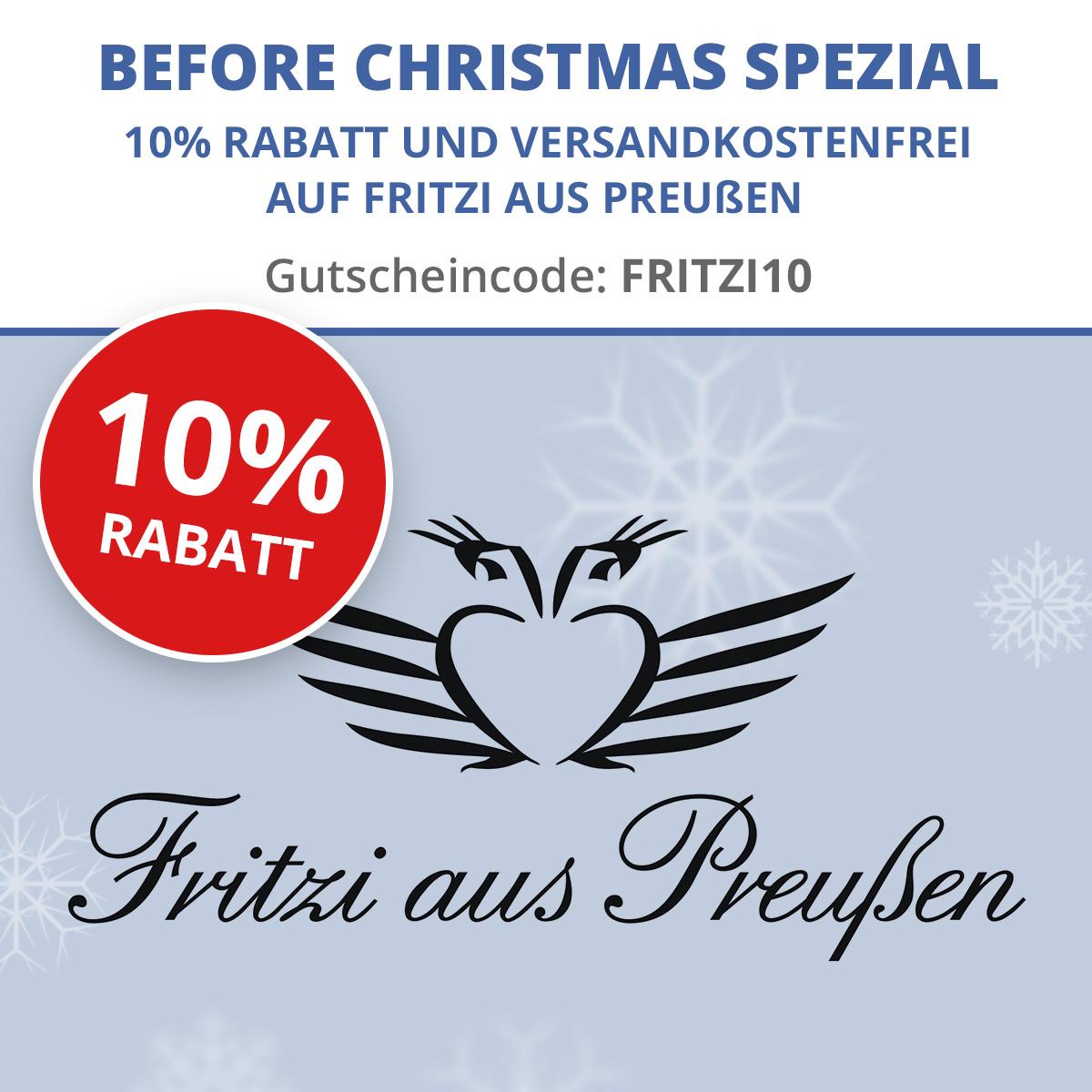 10% Rabatt und Versandkostenfrei auf alle Artikel der Marke Fritzi von Preußen