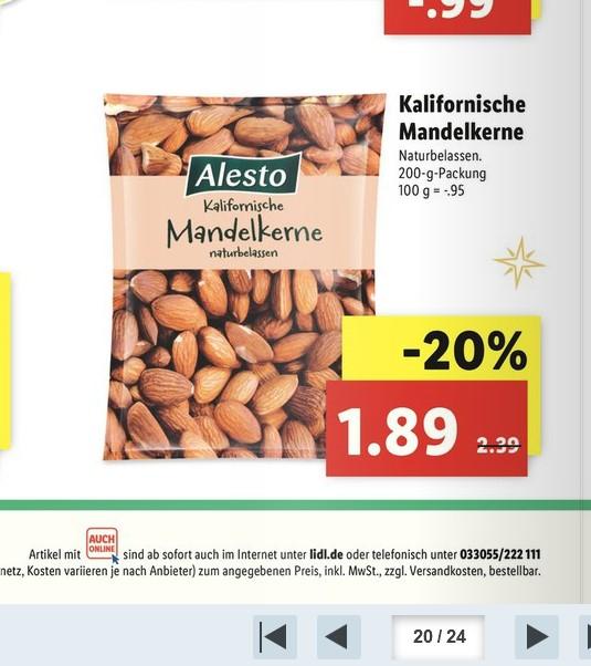 (Lidl) ab 18.12. Alesto kalifornische Mandelkerne naturbelassen 200g für 1,89€