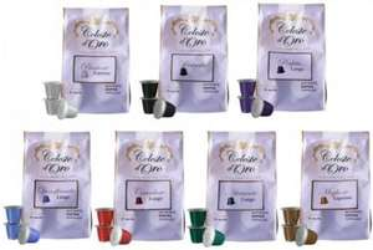 Celeste d'Oro Probierpaket – 140 Kapseln Nespresso kompatible + gratis Kapselhalter für 29,99€