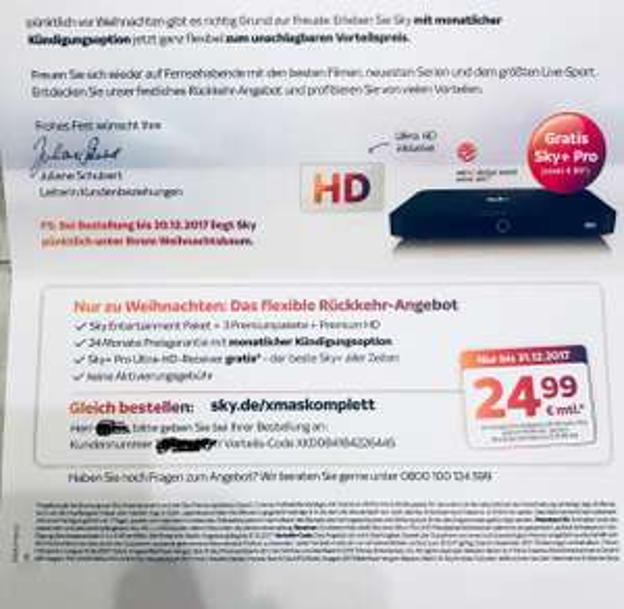 Sky Komplett mit HD und UHD Receiver / monatlich kündbar
