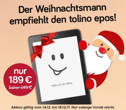"""eReader tolino epos, 7,8"""", WLAN für 189 EUR beim Osiander"""
