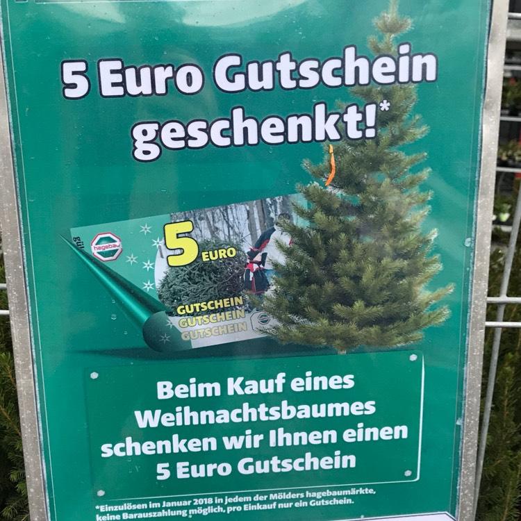 (Lokal) Hagebau Weihnachtsbaum kaufen und 5€ Gutschein kassieren