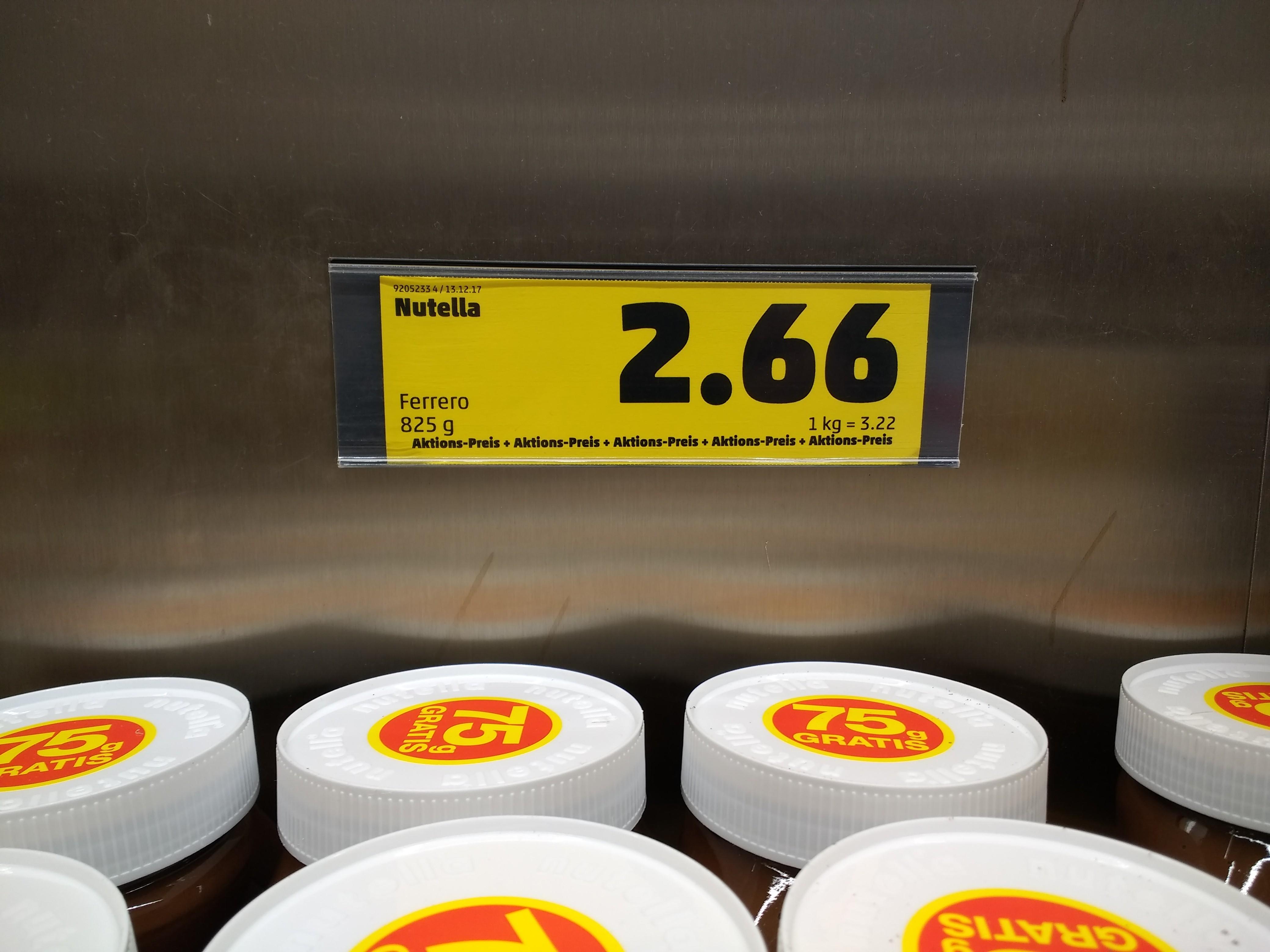 Penny - Nutella 825g für 2,66 = 3,22 €/kg