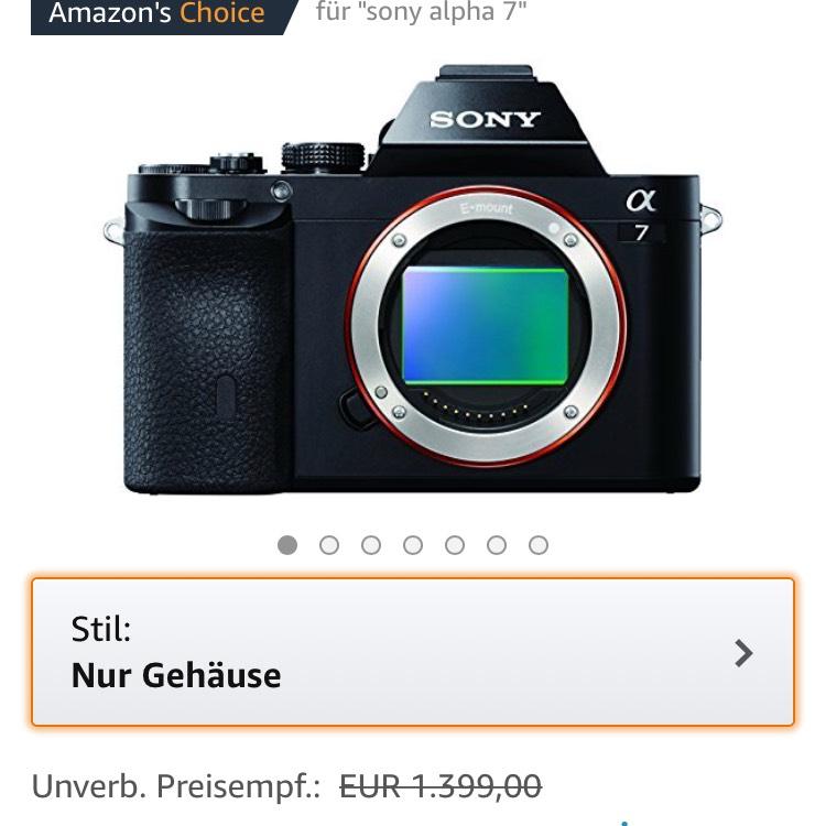 Sony Alpha 7 als Tagesangebot für 777€ Amazon (100€ Cashback nicht vergessen!)