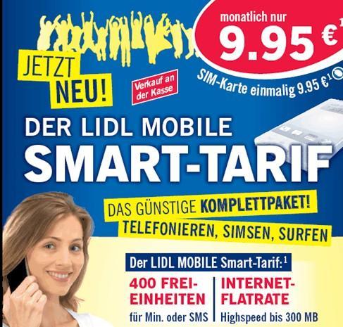 Lidl Mobile Smart: 400 Inklusiv-Einheiten plus Daten-Flat für 9,95 Euro O2-Netz