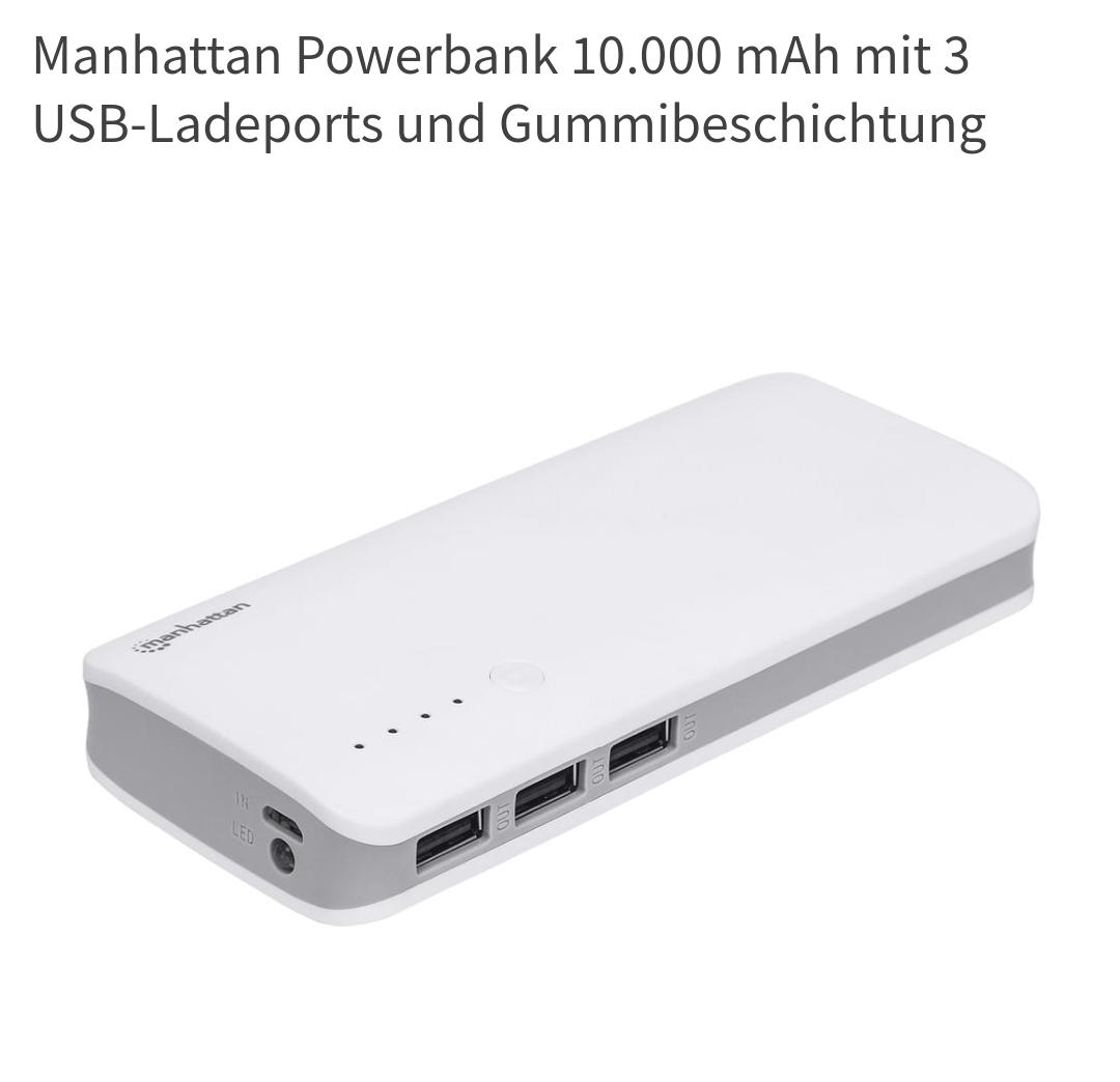 Manhattan Powerbank 10000 mAh, lokal = 9,99€ und online + VSK = 14,94€