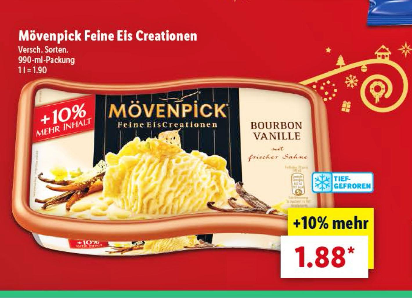 Lidl hat das Mövenpick Eis für nur 1,88€ im Angebot