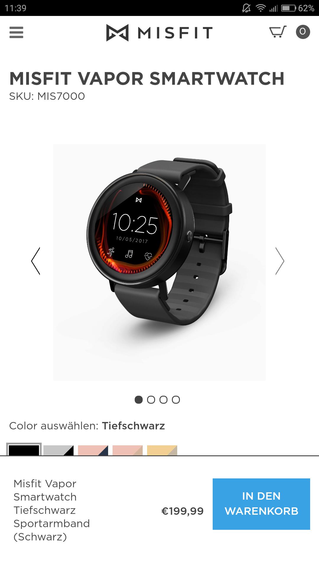 Misfit Vapor Smartwatch mit GPS, HF-Messer und internem speicher für Musikwiedergabe ohne Smartphone