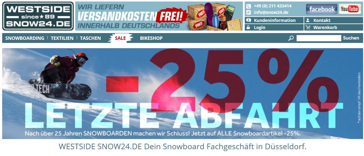[Snow24] 25% Rabatt auf alle Snowboardartikel (außer Sale) aller Marken z.B. Nitro, Burton, LibTech, Jones, Union, Ride etc.