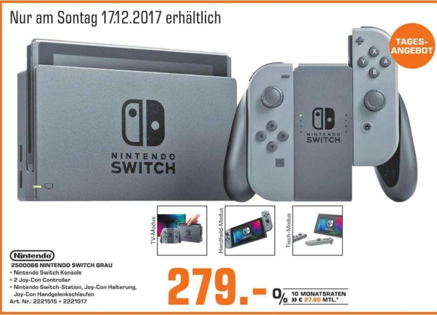[Regional Saturn Chemnitz /Sonntagsangebot] Nintendo Switch schwarz + Joy-Con grau für 279,-€