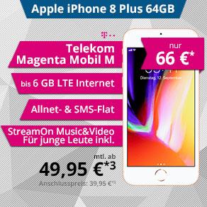 iPhone 8Plus 64GB mit Telekom Magenta Mobil M Young