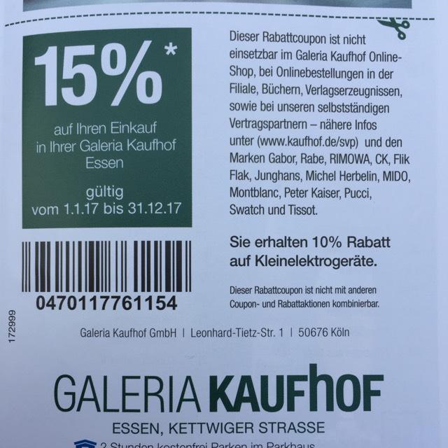 [Galeria Kaufhof lokal] 15% - Gutschein