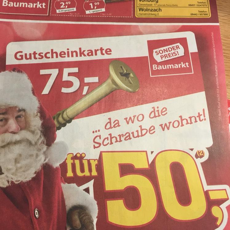 [Sonderpreis Baumarkt] Ab Montag 18.12  Gutscheinkarte 75€ für 50€!