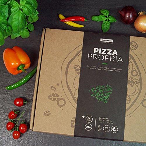 Pizzastein + Kochbuch + Pizzaheber + Geschenkverpackung