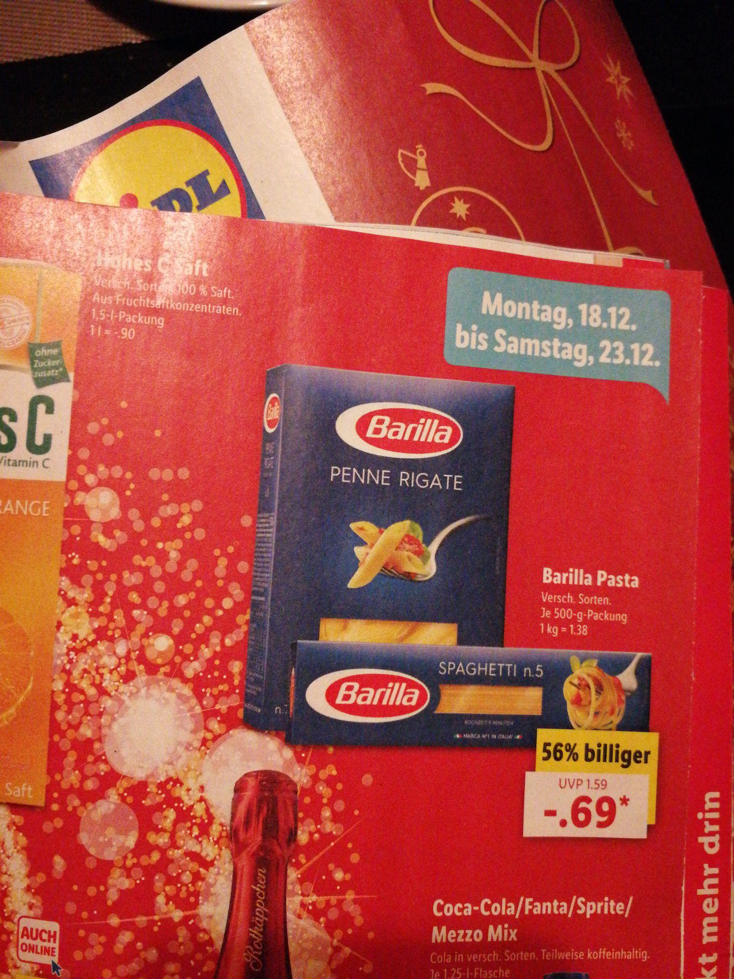 Barilla Pasta 500g für 0.69€ @ Lidl