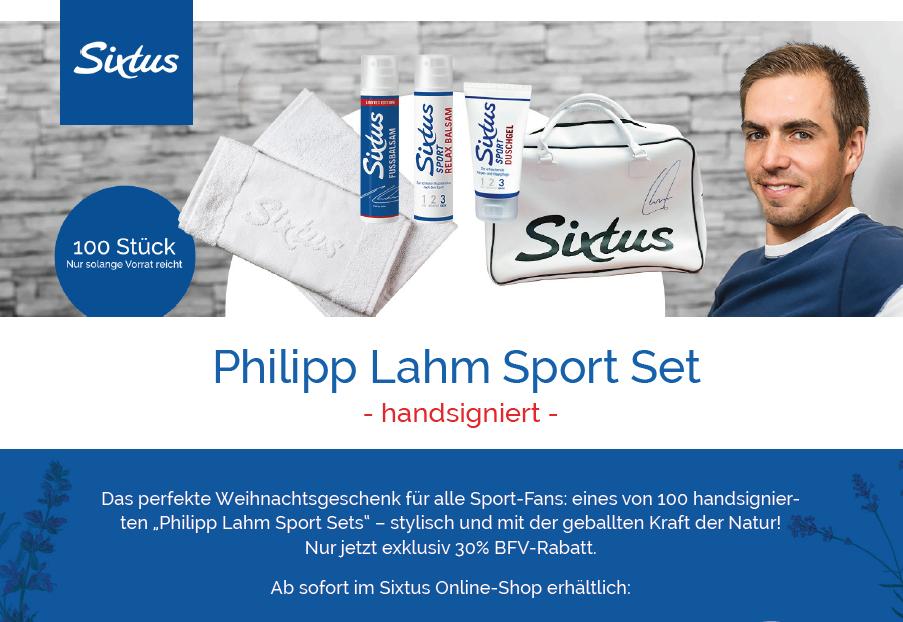 30% Rabatt auf Philipp Lahm Sport Set mit Autogramm, Sporttasche, Fussbalsam, Relax Balsam, Duschgel von Sixtus