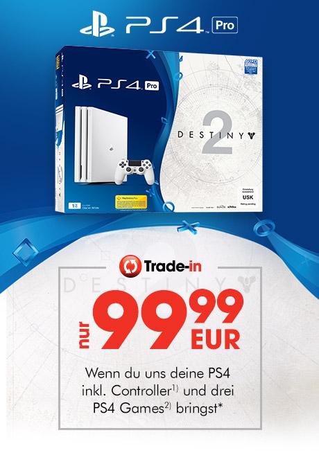 Weiße PS4 Pro mit Destiny 2 für 99,99 EUR bei Abgabe einer alten PS4 und 3 Games (GameStop Eintauschaktion).