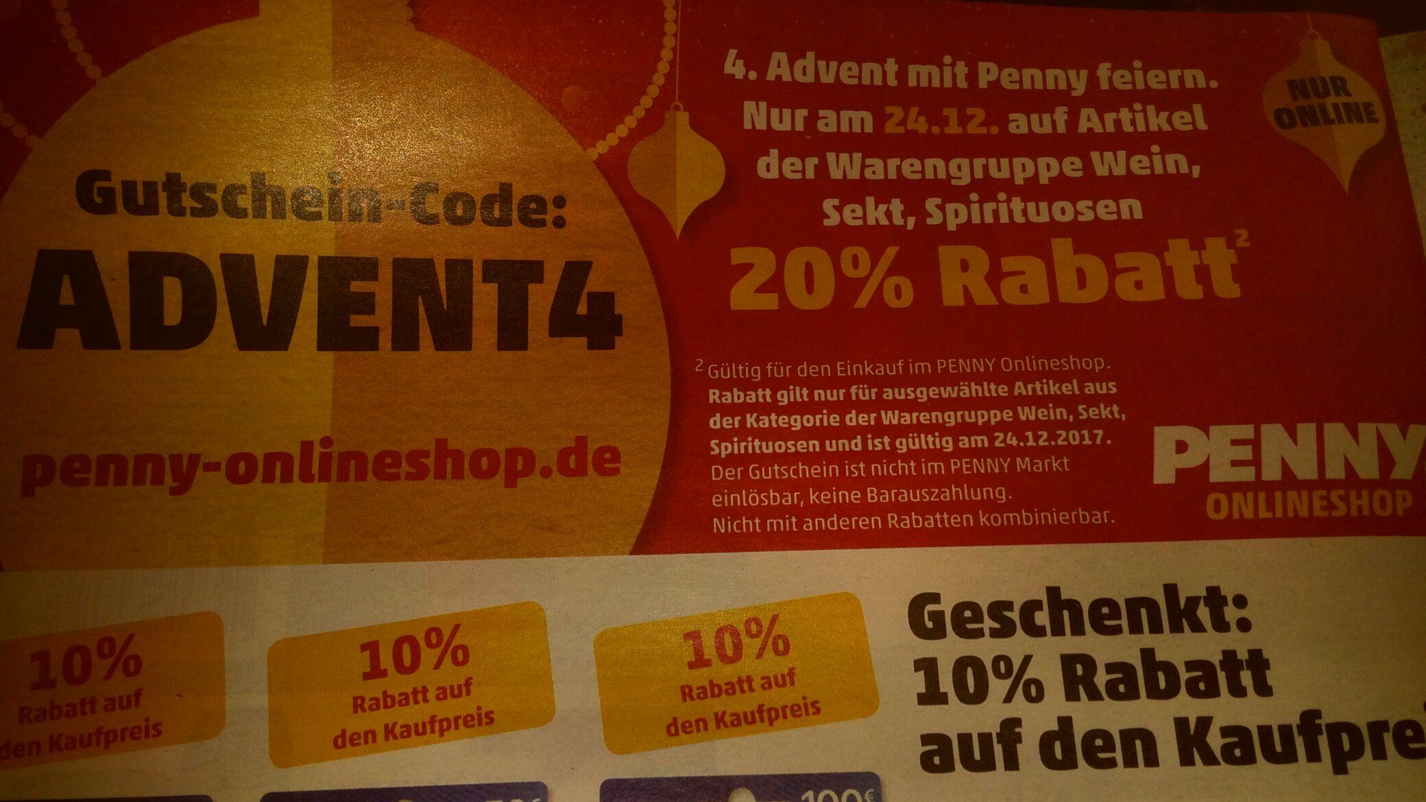 [Penny-Onlineshop.de] 20% auf Weine, Sekt und Spirituosen (ausgewählte Artikel) an Heiligabend 24.12
