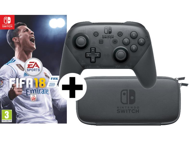 Switch NINTENDO FIFA 18 + Switch-Tasche mit Schutzfolie + Pro Controller schwarz für 95€ [mediamarkt.at]
