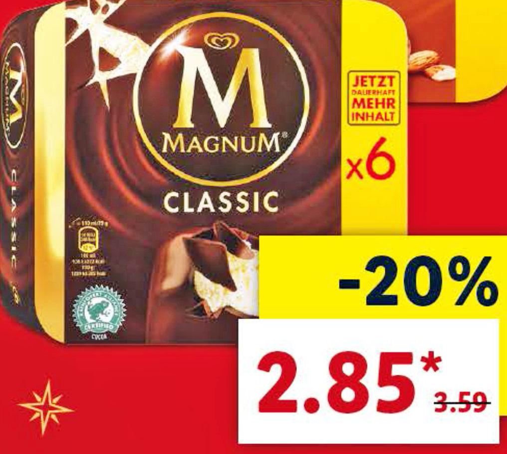 Lidl hat das leckere Magnum Eis 6 Stück! für nur 2,85€ im Angebot
