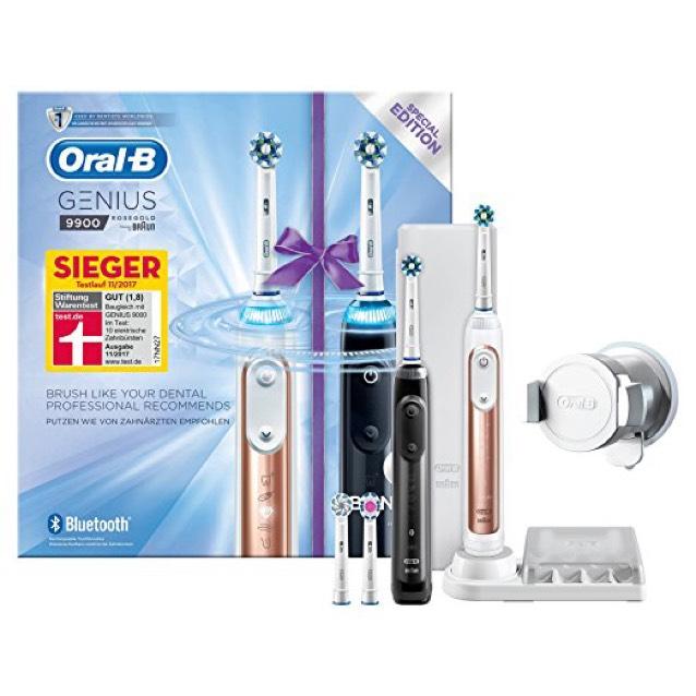 [Amazon] Oral-B Genius 9900 Elektrische Zahnbürste, mit 4 Aufsteckbürsten, 2 Handstücken und Reise-Etui, schwarz/rose gold (evtl. mit Cashback)