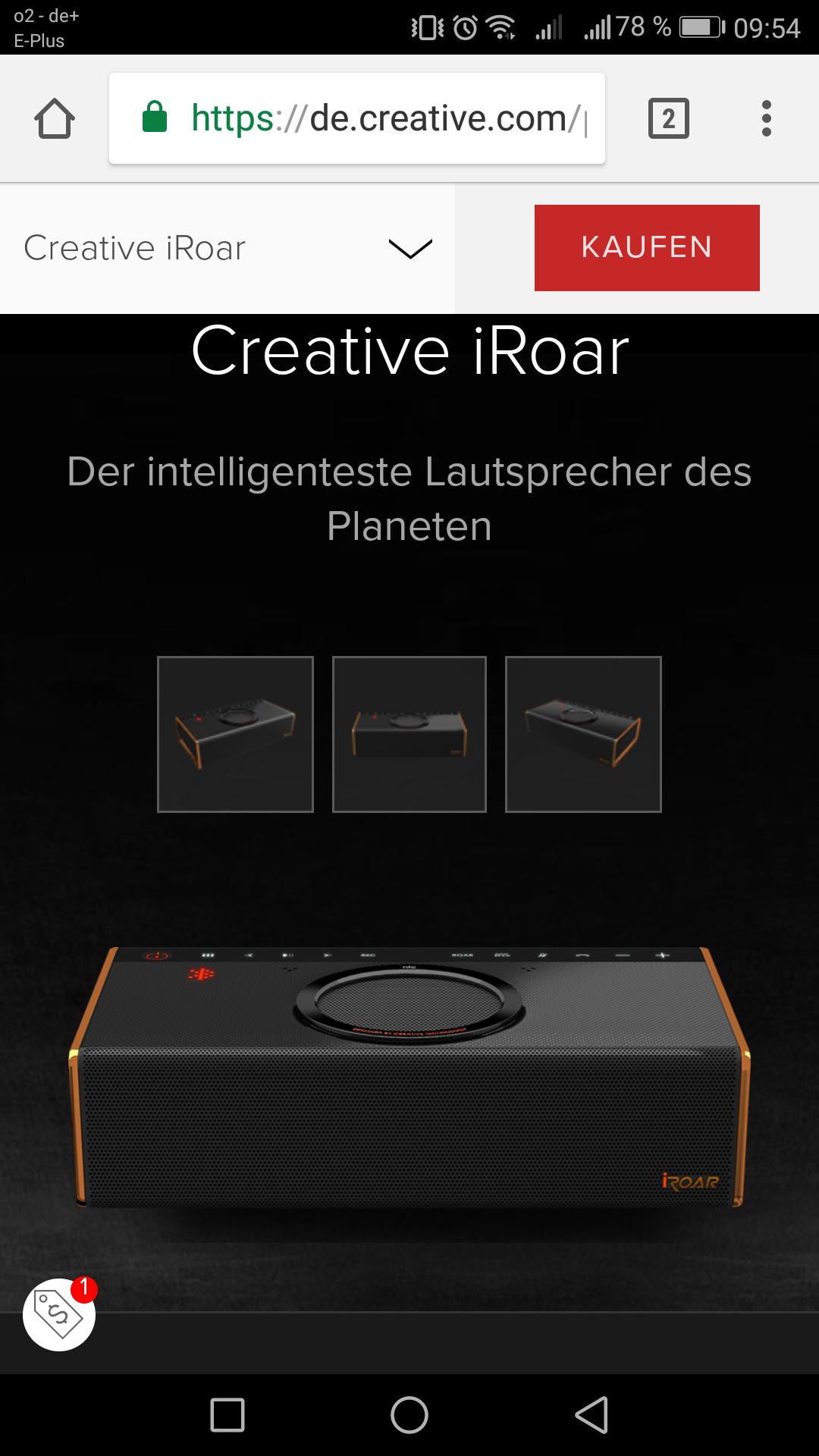 [Creative Online Shop] Creative iRoar Bluetooth Lautsprecher + Creative WP-450Bluetooth Kopfhörer Gratis dazu /Versandkostenfrei
