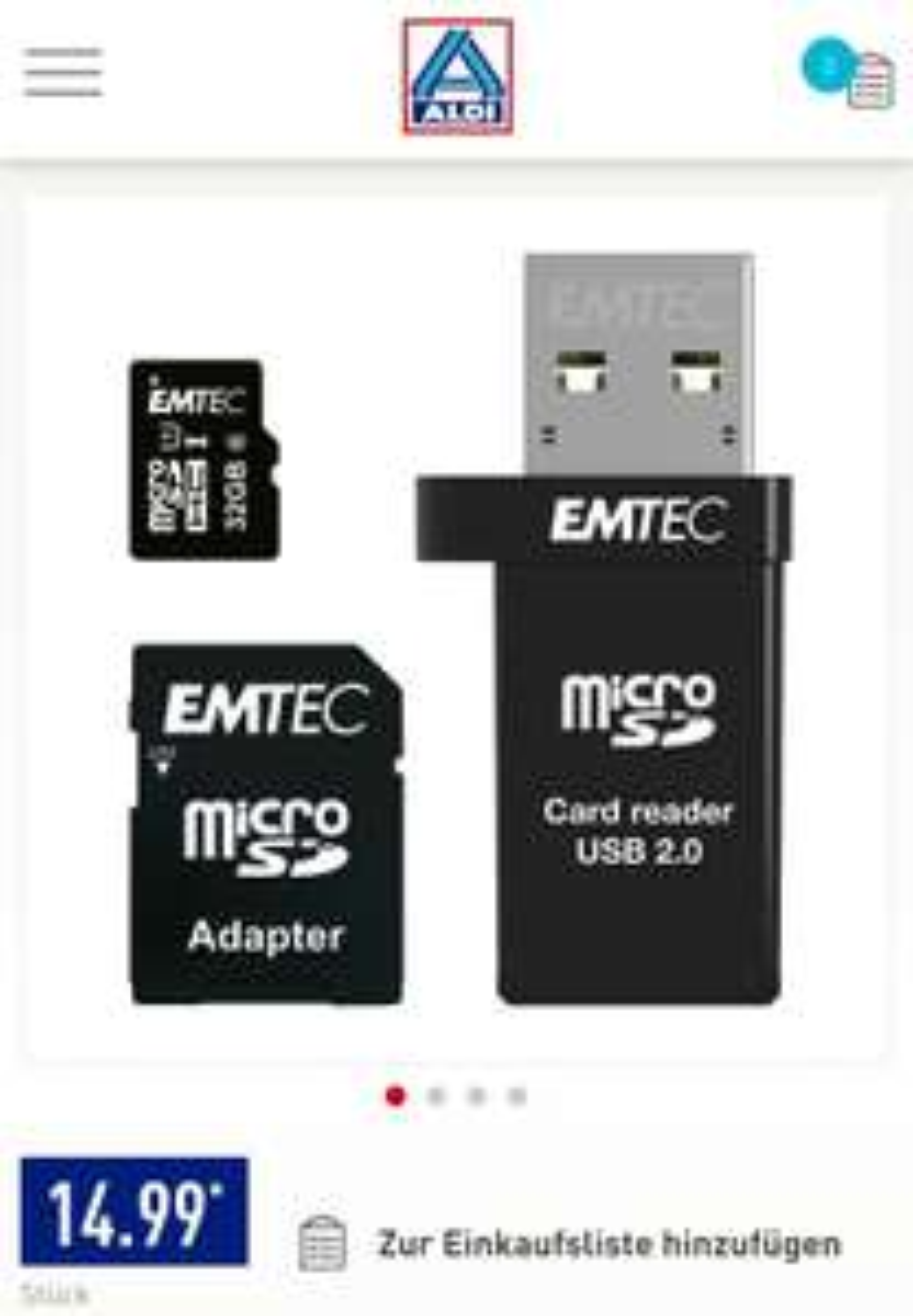 [Aldi Nord OFFLINE] Emtec microSDHC 32GB + USB-Reader + SD-Adapter [ab 18.12.]