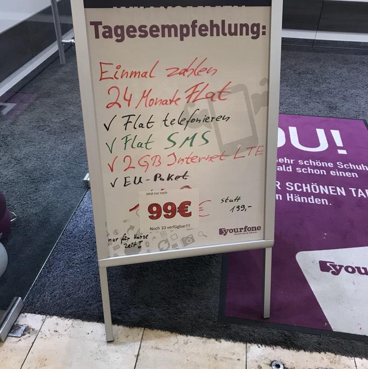 [Lokal Essen] Limbecker Platz | Yourfone 99€ 2GB LTE Allnet Flat für 2 Jahre
