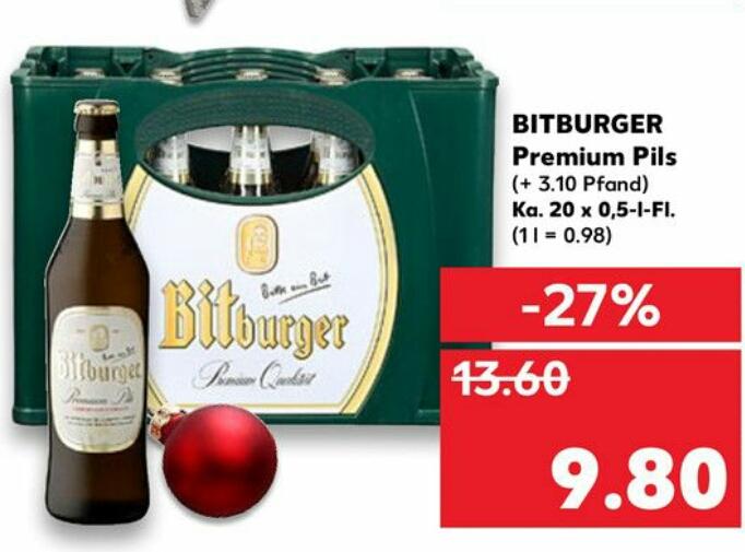 [Kaufland bis 20.12. + Coupies] Kasten Bitburger 20 x 0,5l für 8,80€