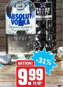(HIT) Absolut Vodka oder Three Sixty Black Vodka 0,7l für 9,99€