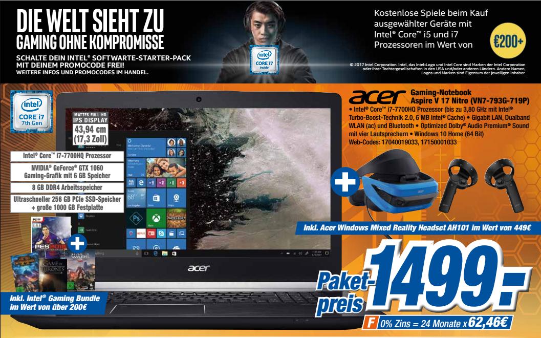 expert klein (lokal) Acer Aspire V 17 Nitro Black Edition (VN7-793G-719P) inkl. Acer Windows Mixed Reality Headset AH101 und Budget Spielen