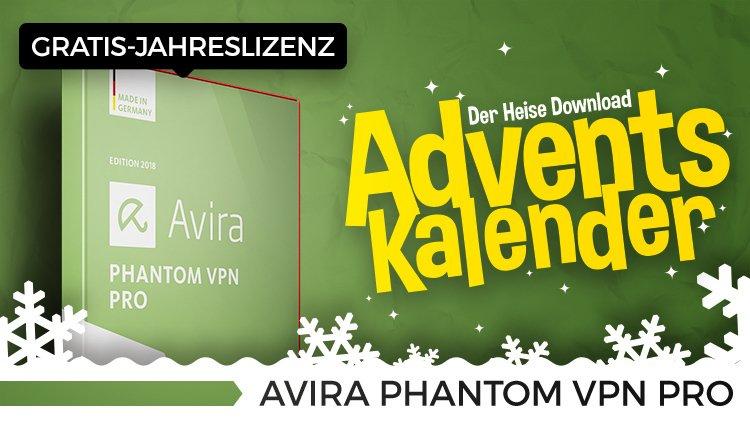 [HEISE.DE ADVENTSKALENDER 2017 - TÜR #18] - Avira Phantom VPN Pro - 1 Jahres Lizenz