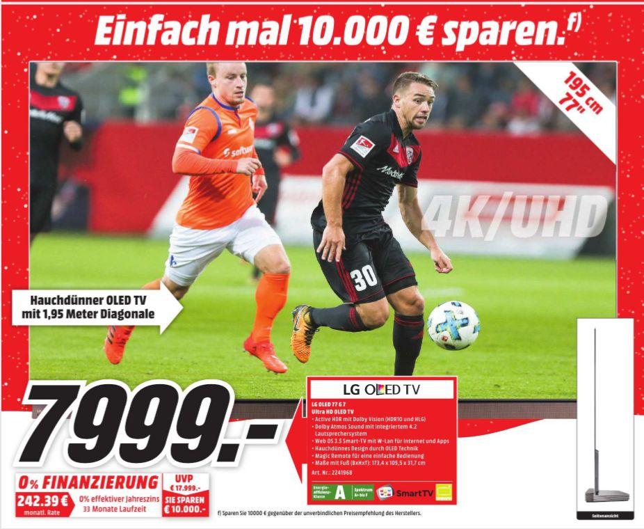[Regional Mediamarkt Hamburg] LG OLED77G7V LED-Fernseher (195 cm/77 Zoll, 4K Ultra HD, Smart-TV), Silber für 7999,-€*Bestpreis*