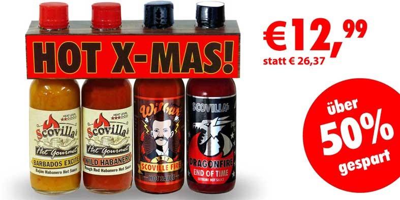 HOT-X-MAS Pack - 4 scharfe Chilisaucen z.B. Dragonfire - etwa 50% Rabatt [Scovilla]