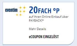 Eventim.de: 20fach Punkte Coupon bei Payback (personalisiert)