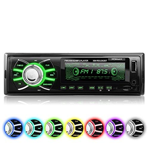 [Amazon] Autoradio ohne CD-Player XOMAX XM-RSU262BT + Bluetooth + USB-Anschluss & SD-Kartenslot + AUX-IN + 7 Farben einstellbar (Rot, Blau, Grün uvm.) +  Single-DIN / 1-DIN Standard Einbaugröße + inkl. Fernbedienung & Einbaurahmen